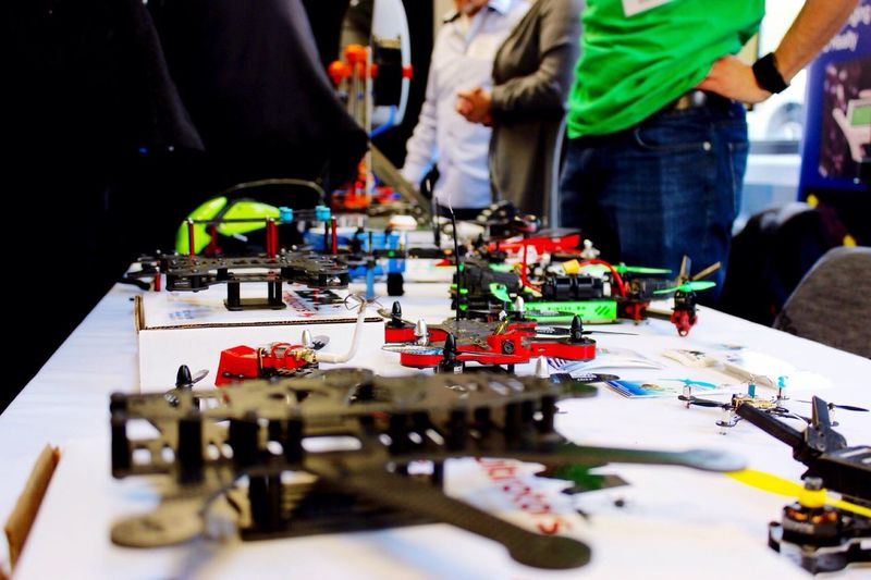 Close-up of drones on table