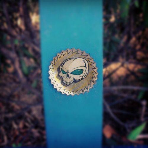Nice Skull Sticker on a Pole on the street sidewalk marbella spain