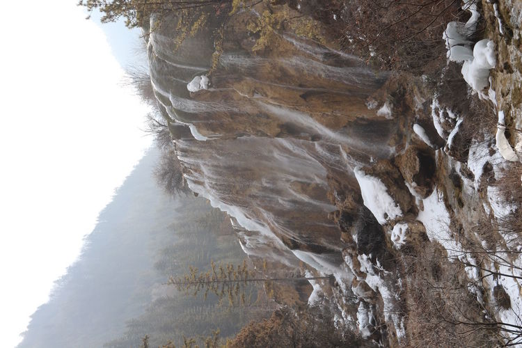 Scenic view of rock formation during winter