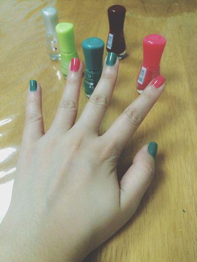 💅🏼💚😝 my Colorful Nails 😁 Nailpolish