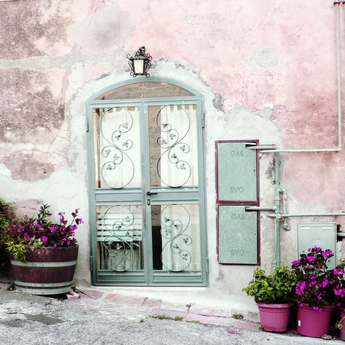 Built Structure Window Architecture Building Exterior Weathered Day No People Outdoors Wall House Flowers Pot Potted Flowers Door Doors Pink Wall Pink Pink Color Millennial Pink EyeEmNewHere Art Is Everywhere Springtime Decadence