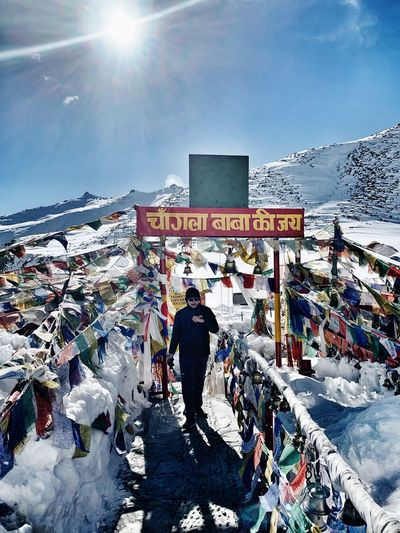 Chang La Pass, 2nd highest pass of the world Walking To Temple Top Of The Mountains Snow Mountain Buddish IPhoneXR Travel Photography Travel Destinations Asian Culture Tibetan Buddhism Faith Lucky Flag Leh India Chang La Pass Winter Snow Cold Temperature Real People Architecture Day Sunlight Building Exterior Built Structure