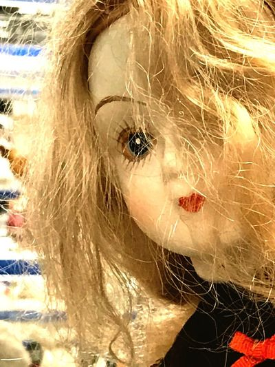 Cast of doll Cast Away Cast Off Uncared-for Abused Undesirable Toy Face Unattractive Face Unattractive Uncombed Female Doll Sloppy Hairstyle Hair Unkempt Creepy Messy Discarded Doll Portrait Close-up Blond Hair Eyeball