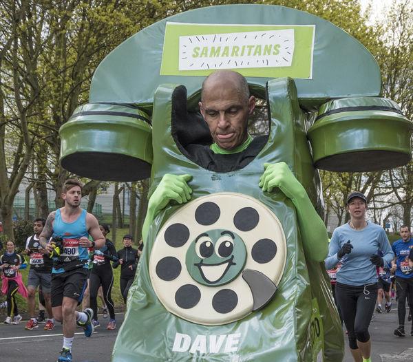 Casual Clothing Charity Day Fancy Dress Feeling Low Good Cause Green Leisure Activity Lifestyles London London Marathon Outdoors Portrait Running Samaritan Unhappy