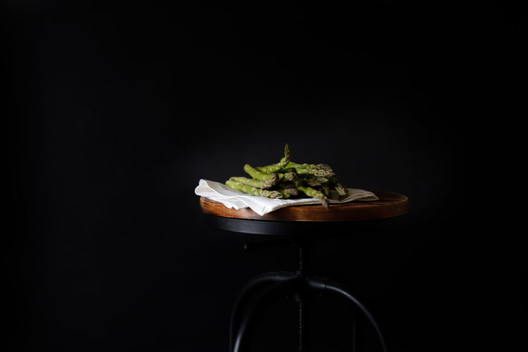 Close-up of food against black background