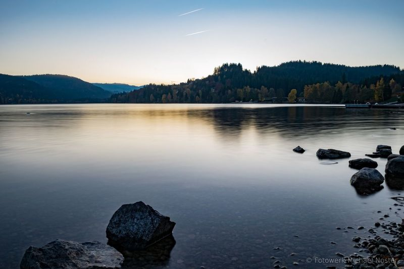 Lake Landscape Reflection Tranquil Scene Nature Sky Water Sunset Forest Outdoors Mountain Stones Stones And Water