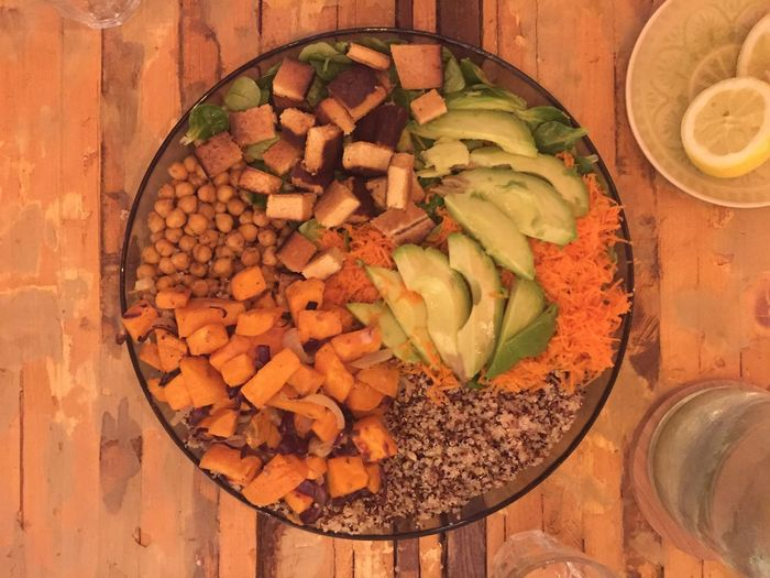 At Home :) Dinner Time Buddha Bowl Sweet Potatoes Garbanzo Quinoa Tofu Avocado Directly Above Food And Drink Indoors  Healthy Eating High Angle View Table No People Freshness Close-up Food