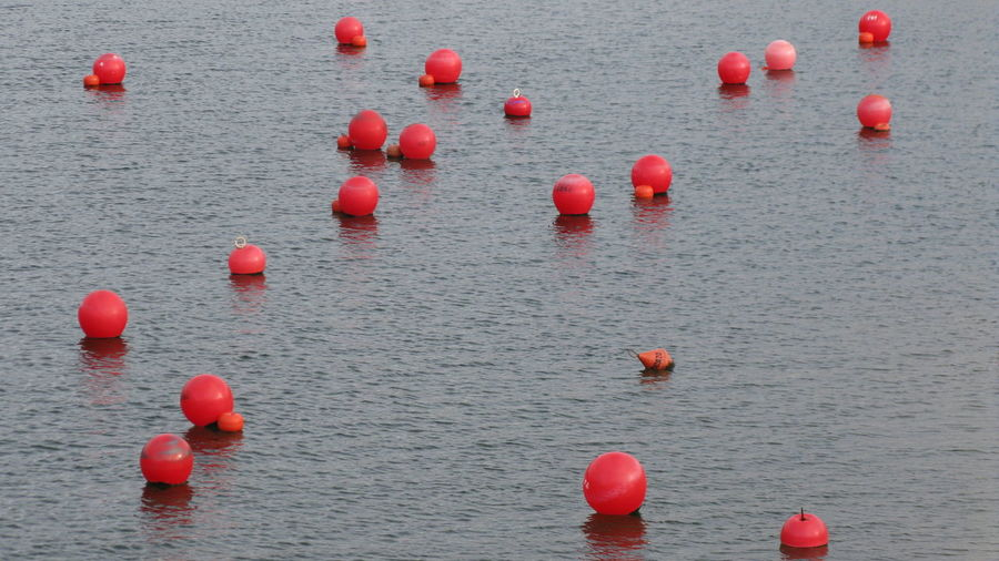 High angle view of red buoys floating on lake