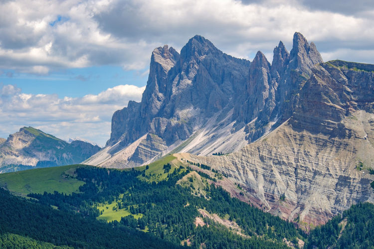 Elevated view at the odle mountains in italy