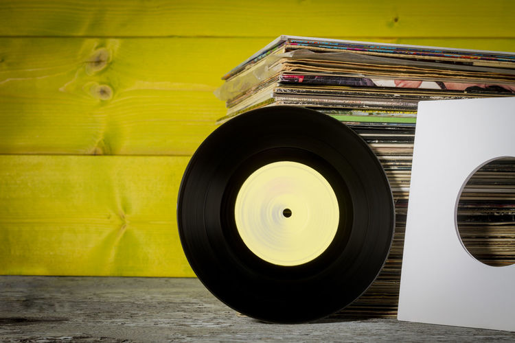 Vinyl Records Rock Music Vinyl Retro Vintage Colors Yellow Lemon By Motorola