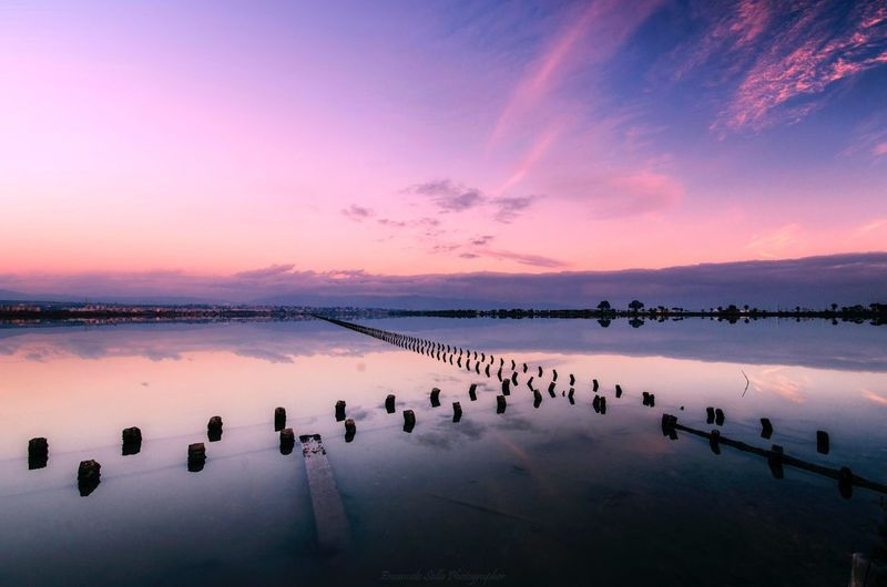 Passionforphotography Molentargius Long Exposure Sardinia Photography Nikon Sardegna Emanuelesollaphotography EyeEm Selects Water Sky Sunset Scenics - Nature Tranquility Reflection Beauty In Nature Tranquil Scene Landscape Cloud - Sky Pink Color No People Nature Idyllic Lagoon