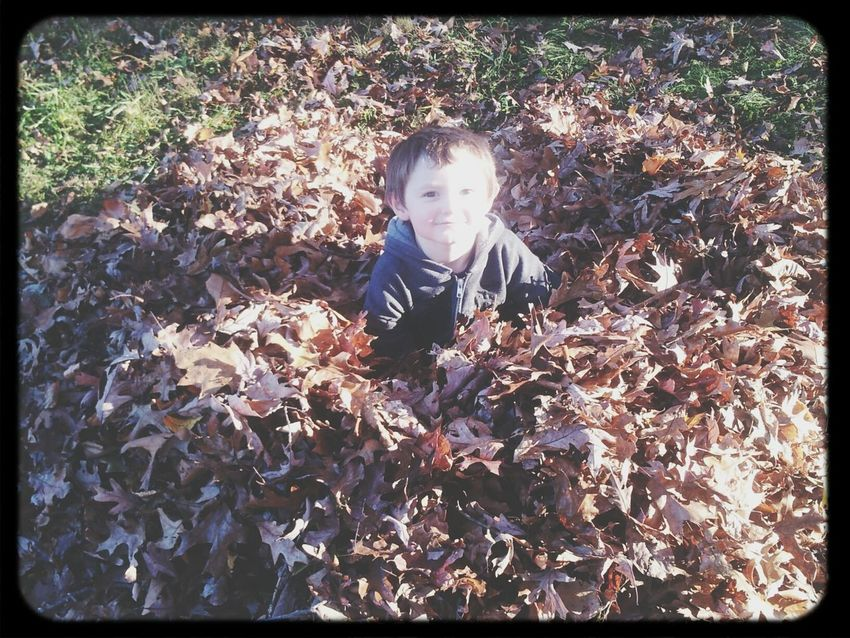 Father Son Time Fall Leaves