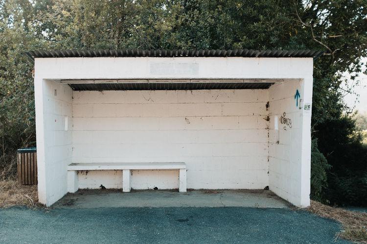 View of old bus stop in spain