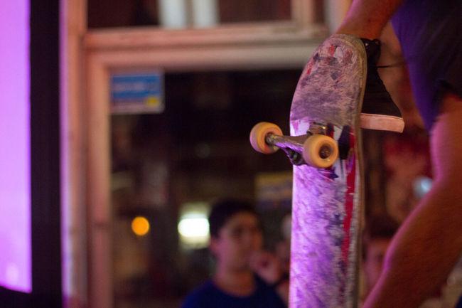 Leisure Activity Night One Person Skateboarding Skateboardingisfun Spinning Upwards Wheel