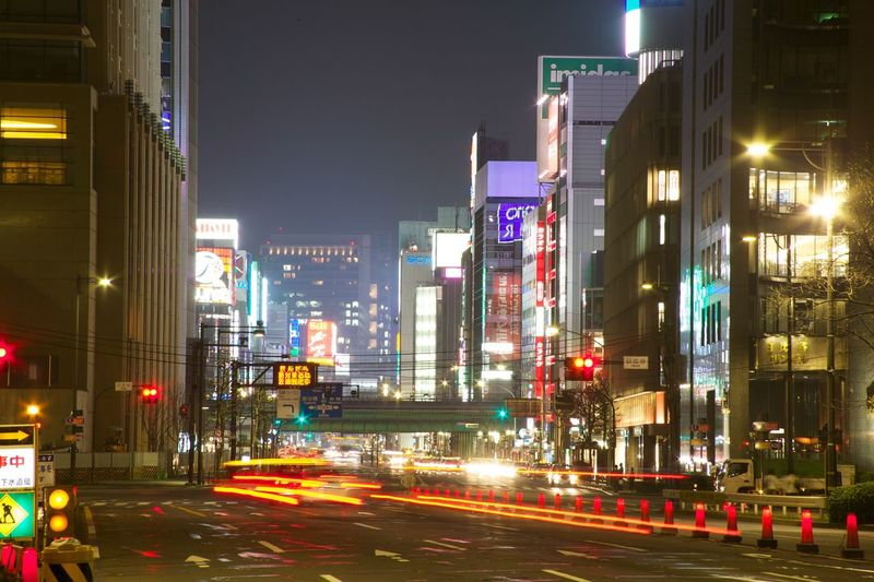 Night time lapse city lights Tokyo Ginza Tokyo Japan Battle Of The Cities