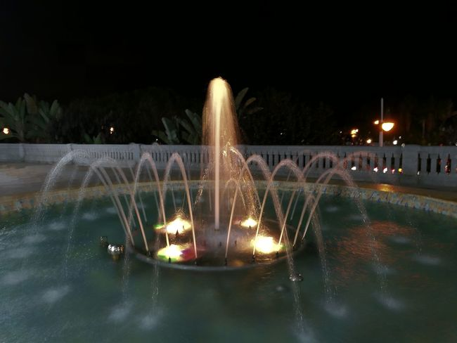 Silky Water Fountain Water Long Exposure Illuminated No People Fuente Seda