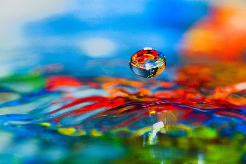 Droplet falling into water