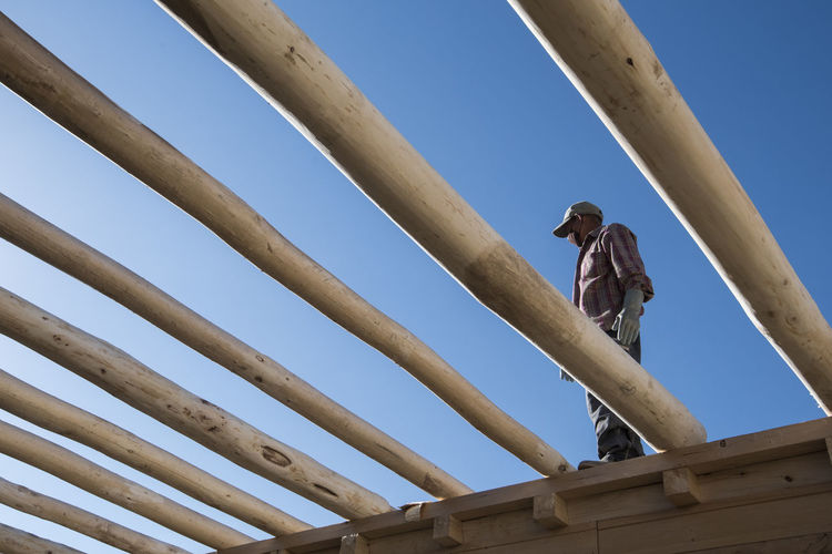 Low angle view of workers working against clear sky