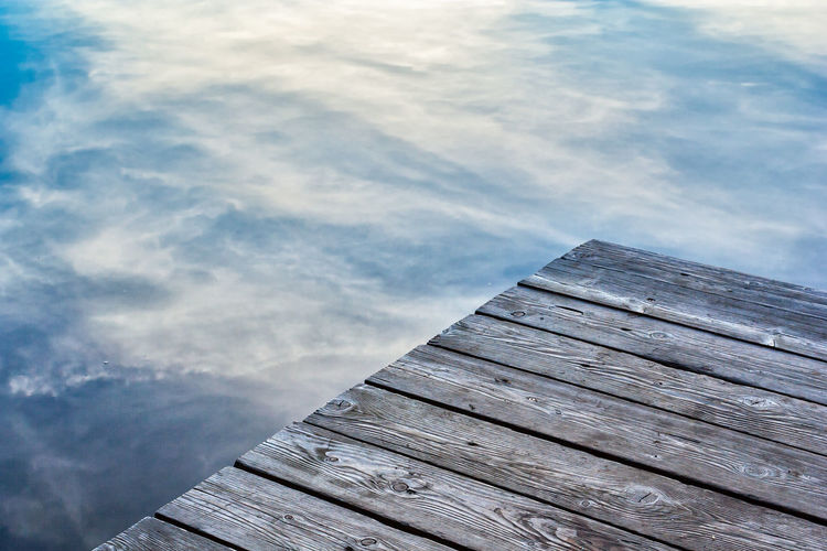 Close-up of pier by lake