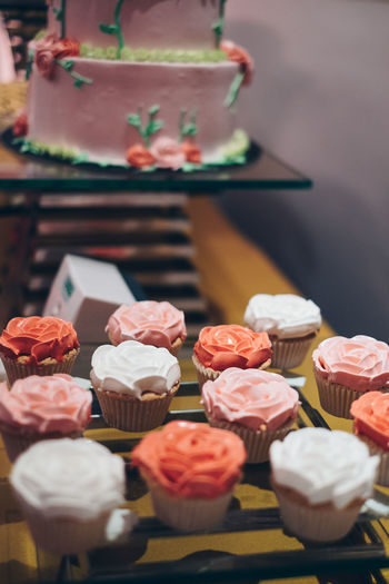Close-up of cupcakes on table