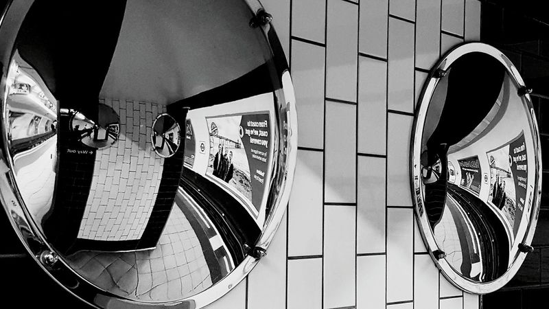 Tube Tube Station  Convex Mirrors Convex Mirror Station Reflections Black And White Black & White Black And White Photography Blackandwhite Indoors