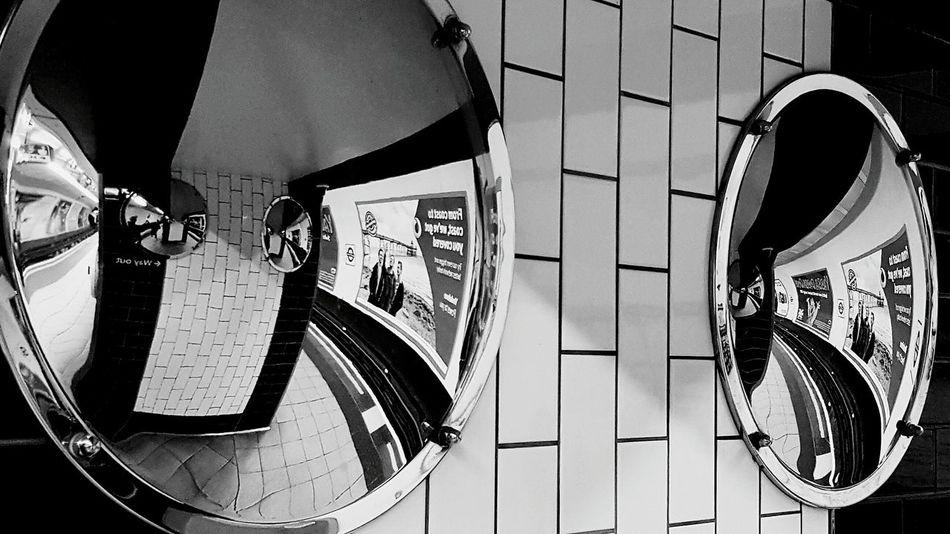 Tube Tube Station  Convex Mirrors Convex Mirror Station Reflections Black And White Black & White Black And White Photography Blackandwhite Indoors