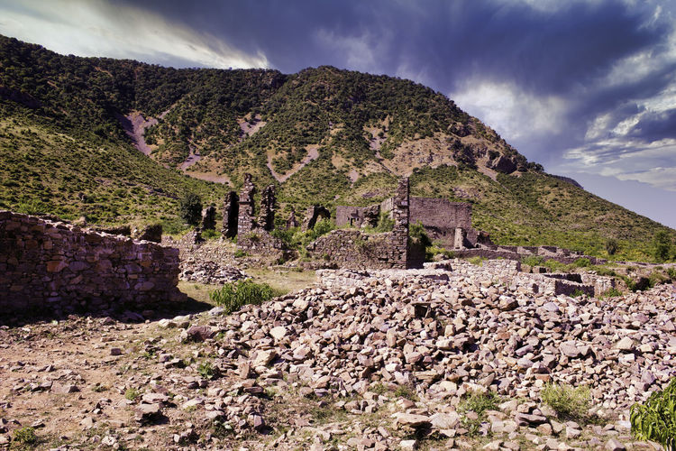 Panoramic view of castle on mountain against sky in bhangarh rajasthan