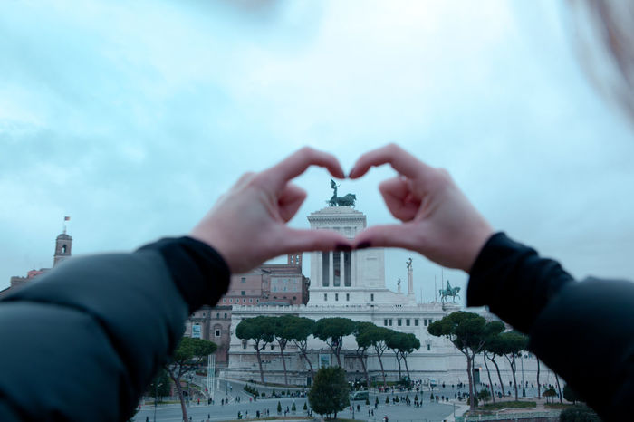Altare Della Patria Architecture Close-up Heart Heart Shape Human Body Part Human Hand Italy Love Real People Rome Travel Destinations Travel Lover Winter Woman Be. Ready. An Eye For Travel