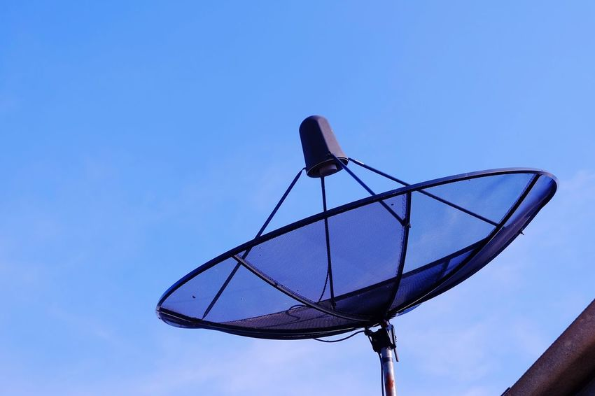 satellite dish on roof with bluesky Cloud Blue Sky Bluesky Communication Satellite Architecture Roof Technology Communication Satellite Dish Blue Day Clear Sky Telecommunications Equipment Outdoors Sky No People Nature