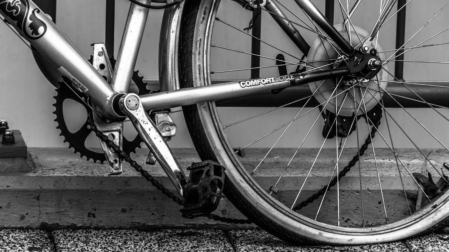 comfortbicycle! Bicycle Blackandwhite Blackandwhite Photography Broken Chain Cycling Day Flat Flat Driven Land Vehicle Mode Of Transport No People Out Of Order Outdoors Pedal Running Flat Transportation Wheel