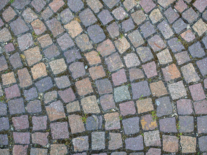 High angle view of cobblestone street