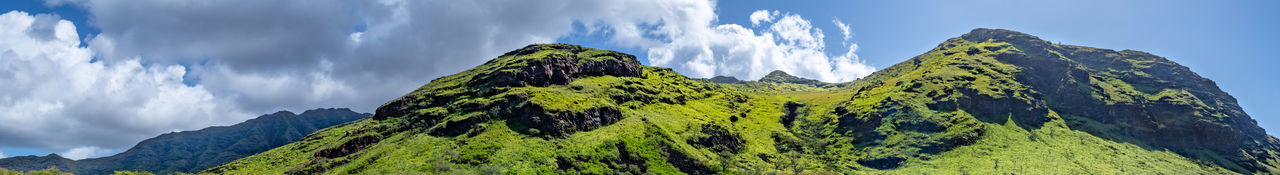 Panoramic view of green landscape against sky