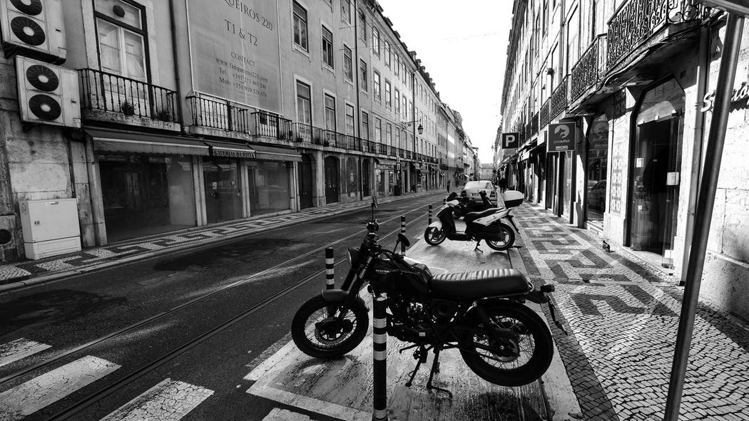 Lisbon Portugal Alfama Lisboa Streetphoto_bw Life Empty b&w street photography B&w Streetphotography Travel Cobblestone Old Town Cobblestoned Streets Sky Built Structure Parking Motorcycle Scooter Motorbike