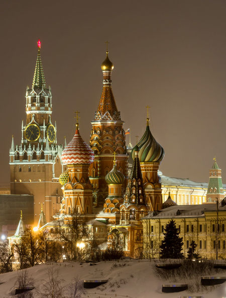 Russia, Moscow, the Kremlin, the Nikolskaya street, night, snow, Vasilevsky descent, the Kremlin's Spassky tower, St. Basil's Cathedral, Monument to Minin and Pozharsky on red square, Manezhnaya square, Ulitsa Varvarka, Zaryadye Park , winter, travel, architecture Moscow Red Square Russia St. Basil's Cathedral St. Basil's Cathedral In Moscow Vasilevsky Descent Architecture Building Exterior Built Structure Cold Temperature Dome Gold Colored Illuminated Nature Night No People Outdoors Place Of Worship Religion Sky Snow Snowing Spirituality The Kremlin Winter