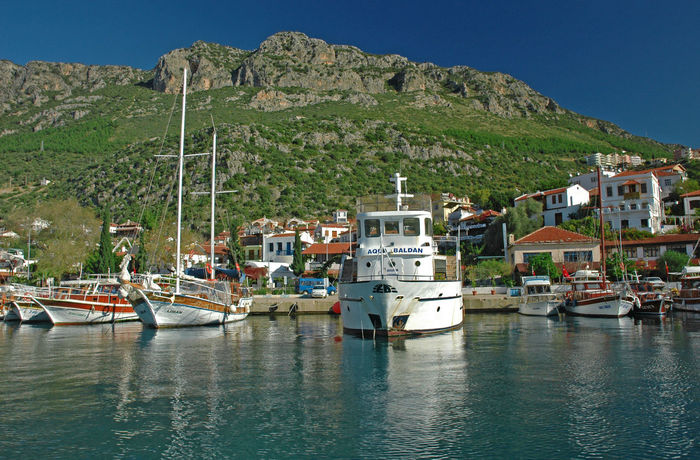 kas harbour Harbour Architecture Beauty In Nature Building Exterior Clear Sky Day Harbor Moored Mountain Mountain Range Nature Nautical Vessel No People Outdoors Scenics Sea Sky Tranquility Transportation Water Waterfront EyeEmNewHere