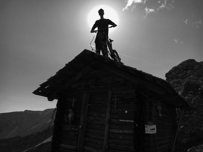 Almhütte Nockberge Mountain Sun Statue Human Representation Male Likeness Art And Craft Sculpture Low Angle View Architecture Travel Destinations Sky Outdoors Day