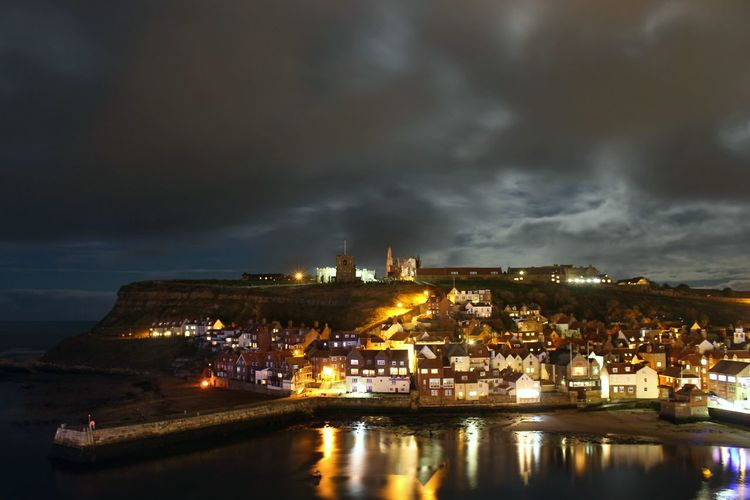 Whitby Whitby Abbey Cloud - Sky Illuminated Night Water Sky Architecture Building Exterior Nautical Vessel Reflection Nature No People Transportation Sea Built Structure City Industry Outdoors Harbor Power In Nature Whitby View Whitby North Yorkshire