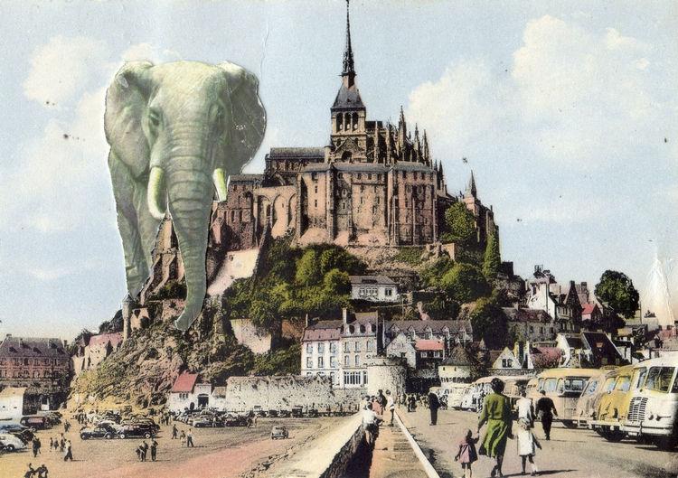 Antique Art Collage Elephant Ephemera France French Manuscript Postcard Retro Vintage