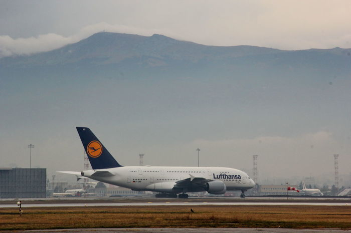 Lufthansa A380 arrives at Sofia Airport A380 Airplane Business Finance And Industry Flying Lufthansa Sky Sofia Airport Sofia, Bulgaria Transportation First Eyeem Photo