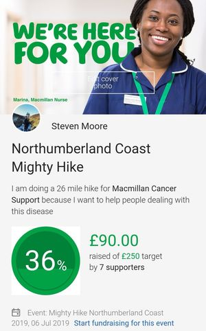 A very personal one for me and a worthy cause. If anyone can help by donating it would be greatly appreciated to spur me on with my 26 mile hiking challenge. Please share the link if you can. Help me smash this target 👊🏻👊🏻 https://www.justgiving.com/northumberlandmightyhike2019 Just Giving Charity Hike Hiking Walking For Charity Macmillan Cancer Support My Challenge