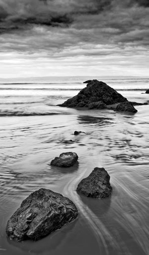 Brean beach, monochrome. somerset.
