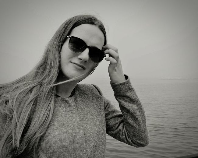 Young woman wearing sunglasses