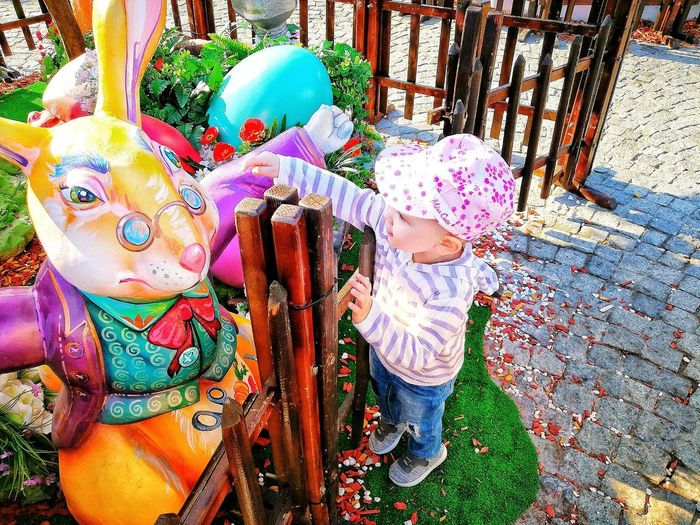Kids Kid Toddler  Easter Easter Bunny Amusement Park Playing Playground Childhood Multi Colored Close-up Street Art Colorful ArtWork
