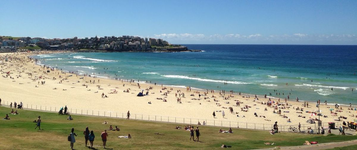 Bondi Beach,Sydney Sea Beach Vacations Large Group Of People Clear Sky Sand Outdoors Sky Day Leisure Activity Wave Sea View Water