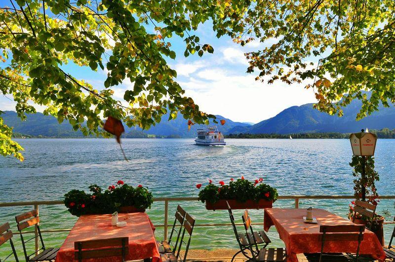 Austria Mondsee Lake View See Lake Ship Spreeng Nature Mountain View Mountain Lake