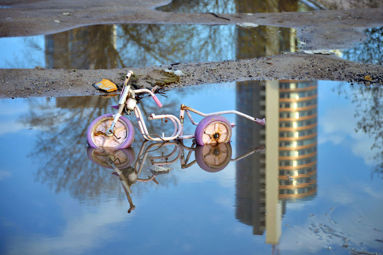 Passed Away City Eastern Europe Lietuva Lithuania Reflection Travel Vilnius Vilnius, Lithuania Bicycle Broken Europe No People Outdoors Puddle Reflection Urban