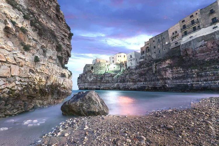 Travel Destinations Rock - Object Architecture Night Cliff Travel Sea Outdoors Water Vacations Sky Beach Landscape No People Building Exterior Nature City Coastline Puglia_super_pics Long Exposure Horizon Over Water Puglia Polignanomadeinlove Polignanolovers
