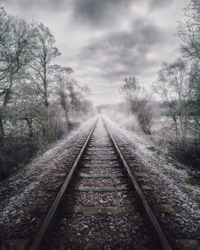 Moody Misty Morning - Frosty Lochawe Surface Level Parallel Gravel Long Straight Non-urban Scene Tranquility Metal Outdoors Day Cloud - Sky Transportation Sky No People Nature Plant Tree Rail Transportation Track Diminishing Perspective The Way Forward Direction Railroad Track vanishing point