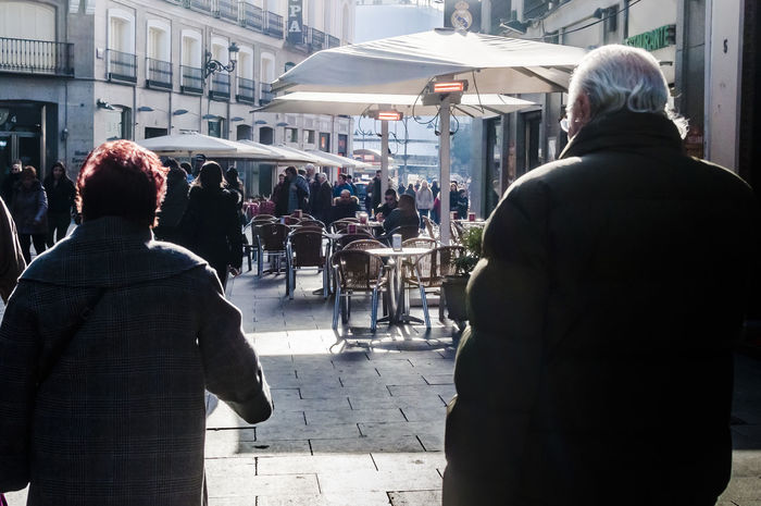 People at a winter terrazza in the centre of Madrid. Adult Adults Only City City City Center City Centre City Life Destination Editorial  Men Outdoors People Rear View Street Streetphotography Terrace Terrazza Tourism Travel Traveling Winter Time Women
