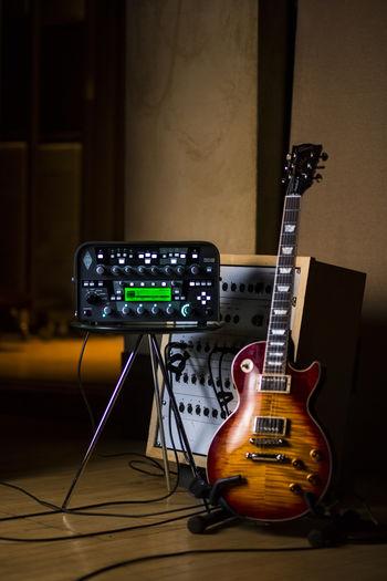 Amplifier by guitar in recording studio